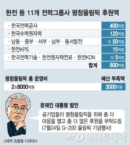 [단독]한전 등 11개 전력社, '올림픽 후원금' 800억 낸다
