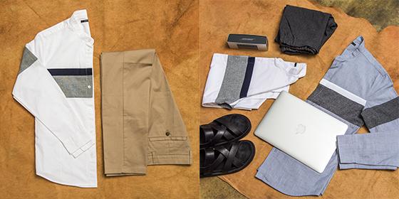 디자인 유나이티드 헨리넥 셔츠·치노팬츠/사진제공=신세계인터내셔날