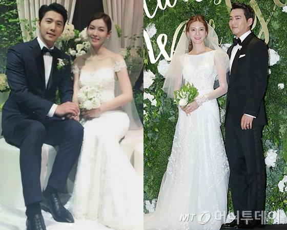 (왼쪽부터)이상우 김소연 결혼식 사진, 차예련 주상욱 결혼식 기자회견 /사진=나무엑터스 인스타그램, 머니투데이 DB