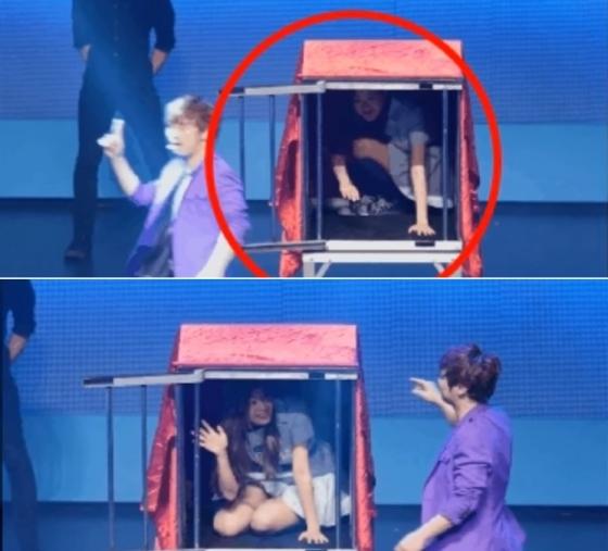 마술사 최현우가 천으로 상자를 덮기도 전에 먼저 나와버린 에이프릴 진솔/사진=유튜브 디스뺏지 캡처