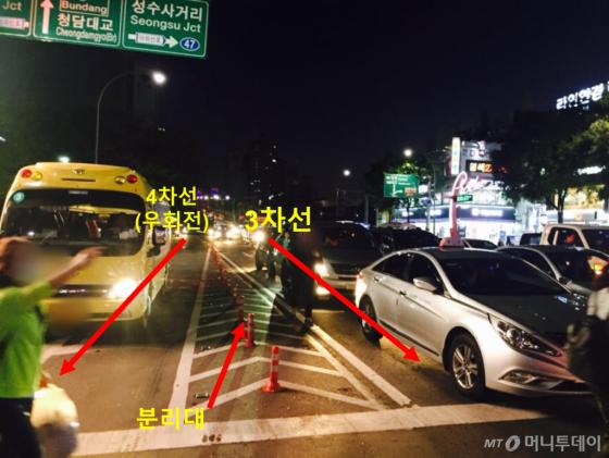 A씨가 하차를 요구했을 무렵 버스가 있었을 것으로 추정되는 지점의 도로와 차선 상황 /사진=남궁민 기자