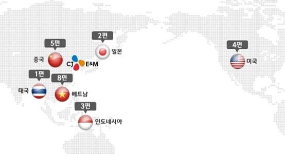 CJ E&M 국가별 해외 로컬영화 개봉작 편수.