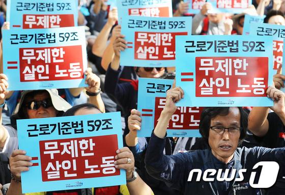 [사진]'근로기준법 59조 폐기하라'