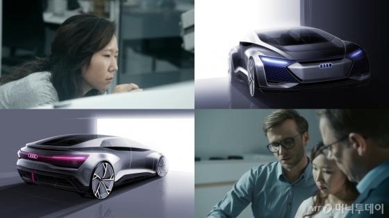 이루시아씨자 자동차를 디자인하는 모습과 아이콘의 스케치 /사진제공=아우디