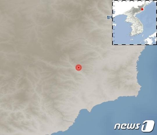 23일 오후 규모 3.0의 지진이 발생한 북한 길주군 풍계리 인근/사진=뉴스1, 기상청