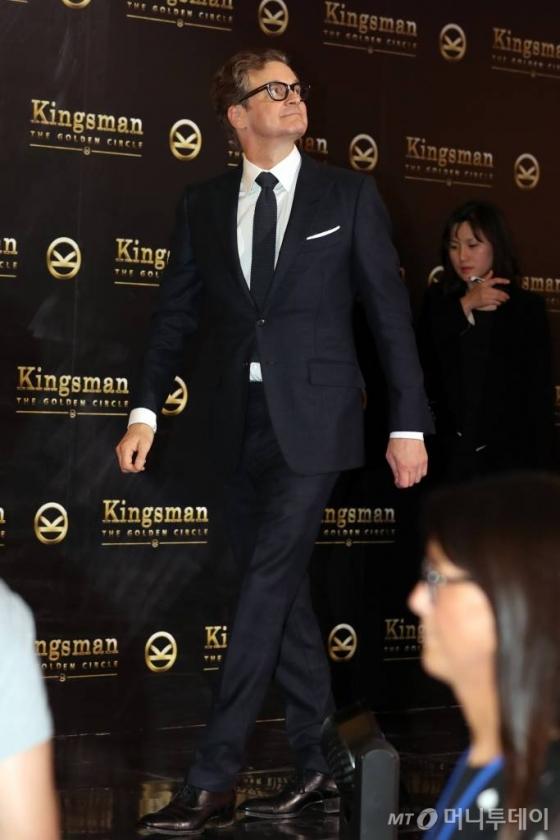 지난 20일 서울 롯데월드타워123에서 열린 영화 '킹스맨 : 골든 서클' 레드카펫 행사에 참석한 배우 콜린 퍼스. /사진=김휘선 기자