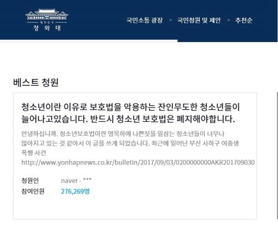 소년법을 폐지헤달라는 청와대 국민 청원. 두 청원글을 합쳐 40만명에 육박한 국민들이 동의한 상태다./사진=청와대 홈페이지