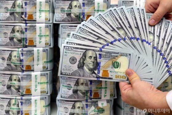 서울 중구 KEB하나은행 위변조대응센터에서 직원이 달러를 정리하고 있다. /사진제공=뉴시스