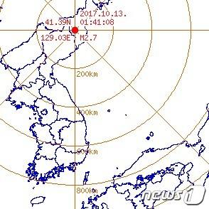 13일 새벽 1시41분쯤 규모 2.7 지진이 발생한 북한 함경북도 길주 북북서쪽 54km 지역/사진제공=뉴스1