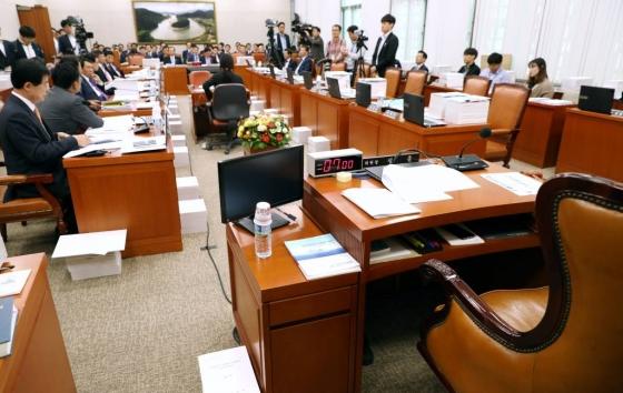 2017 국정감사 이틀째인 13일 오후 서울 여의도 국회 농림축산식품해양수산위원회 회의실에서 열린 해양수산부 국감이 세월호 최초 보고서 조작에 대한 질의 문제로 여야 의원들이 공방이 계속돼 정회됐다. /사진=뉴시스