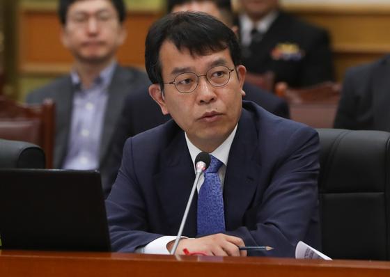 김종대 정의당 의원이 19일 충남 계룡대에서 열린 국회 국방위원회의 국정감사에서 질의를 하고 있다./사진=뉴스1