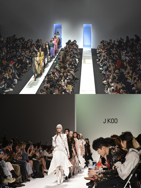 '2018 10소울'로 선정된 '푸시버튼'(PUSHBUTTON)(위)과 '제이쿠'(J KOO)의 패션쇼 피날레 무대 모습