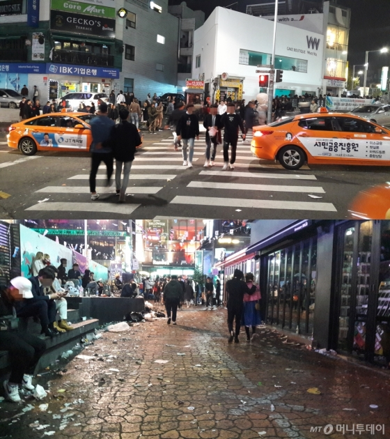 할로윈데이를 앞둔 주말인 29일 오전 2시쯤 이태원 사거리에서 무단횡단을 하는 사람들(위), 거리에는 쓰레기가 무분별하게 버려져 있다. /사진=이영민 기자