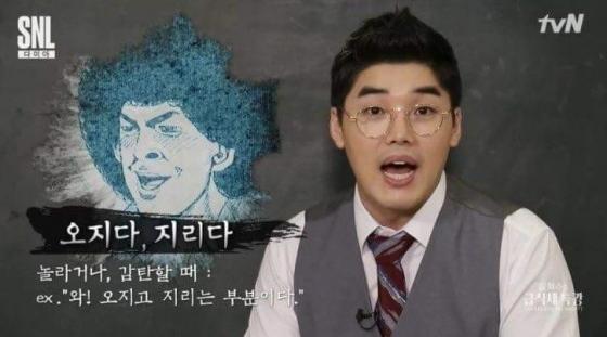tvN 'SNL9'에서 개그 코너로 '설혁수의 급식체 특강'을 다뤘다. 배우 권혁수가 유명 한국사 강사인 설민석을 흉내내 급식체에 대해 강의한다./사진=SNL9 캡처
