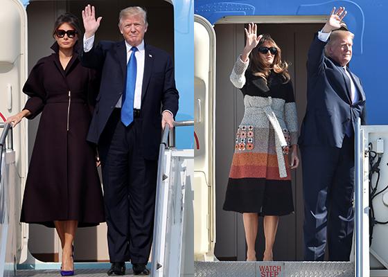 (왼쪽)7일 방한한 도널드 트럼프 미국 대통령과 부인 멜라니아 트럼프 여사, (오른쪽)5일 일본을 방문한 트럼프 대통령 내외 모습/AFPBBNews=뉴스1