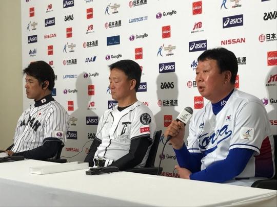 왼쪽부터 일본 이나바, 대만 홍이중, 한국 선동열 감독 /사진=스타뉴스