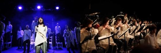 (왼쪽) 연극 '오디세우스, 길을 찾는 자' 공연 모습/사진제공=한국메세나협회. (오른쪽) 서울시청소년국악단 '귀향-끝나지 않을 노래' 공연 모습/사진제공=세종문화회관.<br />