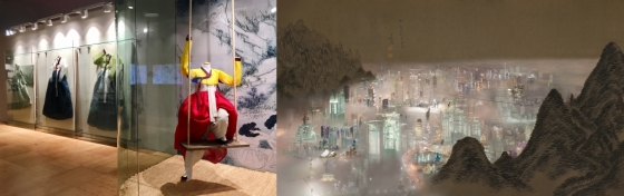 혜원 신윤복 그림 속 의상을 재현한 한복 디자이너 이영희 작품 '오뜨쿠튀르 한양'(왼쪽), 겸재 정선의 '단발령망금강'에서 모티브를 얻은 미디어아트 작가의 작품 '신-단발령망금강'/사진제공=간송미술문화재단
