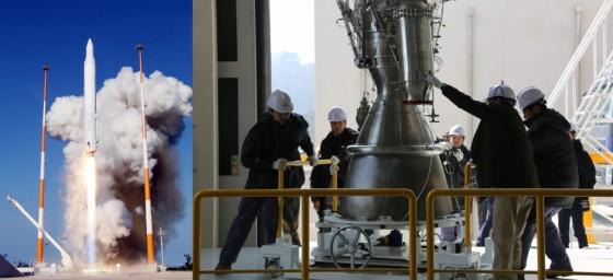 나로호 발사 모습(왼쪽)과 한국형발사체의 75t 엔진 이송모습(오른쪽). /사진제공=한국항공우주연구원<br />
