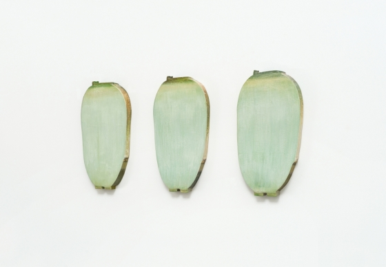 임충섭, '채식주의자 I, II, III' (Vegetarian I, II, III), 2016, Acrylic and U.V.L.S gel on shaped canvas, i) 75.5 x 36 x 9.5 cm ii) 76 x 35.5 x 9.5 cm iii) 76 x 36.5 x 9.5cm /사진=갤러리현대