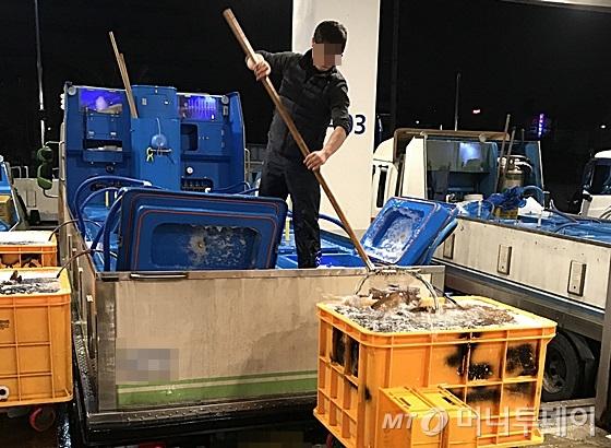 서울 동작구 노량진 수산시장에서 출하자가 경매를 위해 차량에서 활어를 내리고 있다. /사진=신현우 기자