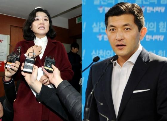 류여해 자유한국당 최고위원(왼쪽)이 홍준표 대표가 서울시장 후보로 홍정욱 헤럴드 회장(오른쪽) 영입을 검토 중이라는 소식을 비판했다. /사진=뉴스1