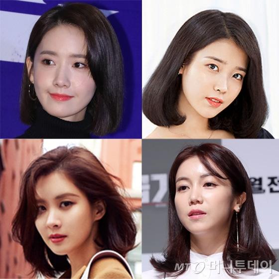 (왼쪽 위 부터) 윤아, 아이유, 김옥빈, 서현/사진=머니투데이DB, 나일론 코리아, LG생활건강