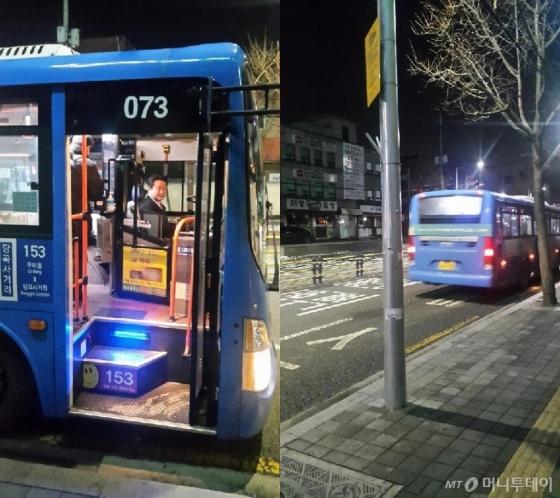 김창수 기사가 어둠이 깔린 새벽 첫 차를 운행 중이다/사진=한지연기자