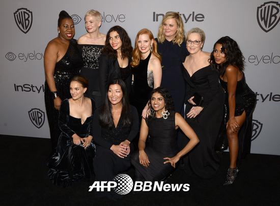 (상단 왼쪽부터) 배우 로사 클레멘테, 미셸 윌리엄스, 아메리아 페레라, 제시카 차스테인, 에이미 포엘러, 메릴 스트립 (하단 왼쪽부터) 나탈리 포트만, 아이-젠 푸, 사루 자야라만 /AFPBBNews=뉴스1