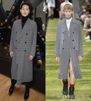 송중기 vs 모델, 같은 코트 다른 느낌…