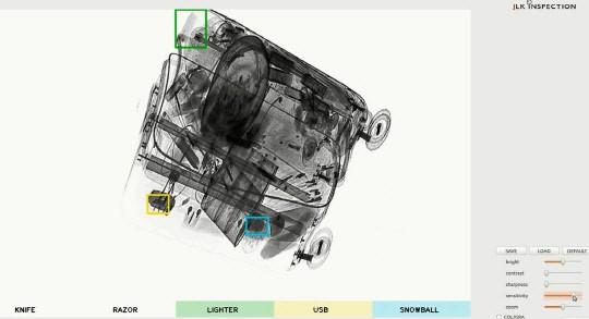 관세청과 ㈜제이엘케이인스펙션이 개발한 인공지능(AI) X-Ray 판독보조시스템이 다양한 위험물품을 동시에 찾아낸 사진