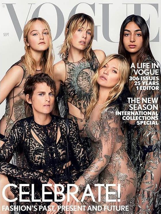톱모델 케이트 모스(우측 하단)와 보그 영국판 2017년 9월호 표지를 장식한 진 캠벨(좌측 상단)/사진=진 캠벨 인스타그램