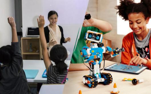중국 코딩 교실(왼쪽) 모습과 게임으로 코딩을 배우는 미국 아이/사진=블룸버그.