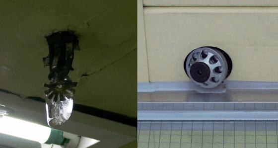 지하철 1호선 종로3가역과 청량리역 천장에 설치된 스프링클러 /사진=최동수 기자