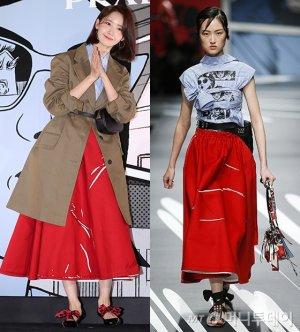 윤아 vs 모델, 코트와 리본 슈즈 매치