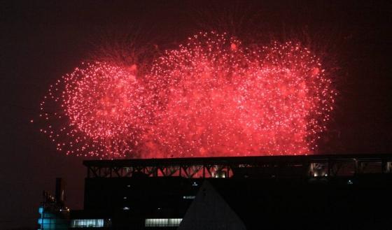 9일 오후 '2018평창동계올림픽 개막식'이 열리고 있는 강원 평창군 평창올림픽스타디움에서 화려한 불꽃이 하늘을 수놓고 있다. /사진=뉴시스