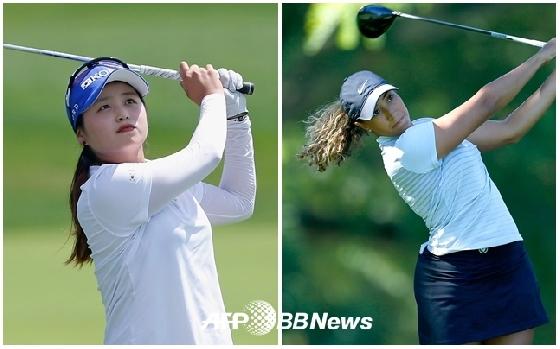 최혜진(왼쪽)과 샤이엔 우즈 / 사진=AFPBBNews=뉴스1