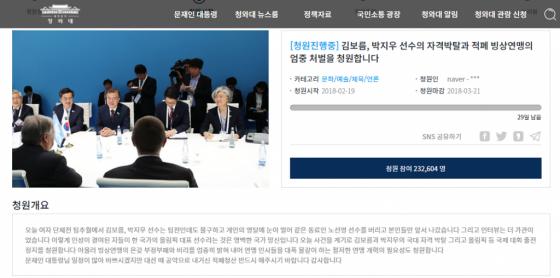 """""""김보름·박지우 자격 박탈"""" 청원, 하루만에 20만 돌파"""