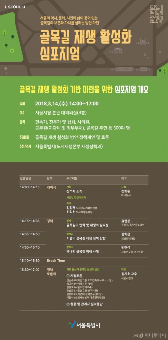 서울시, '골목길 재생 활성화 심포지엄' 14일 개최