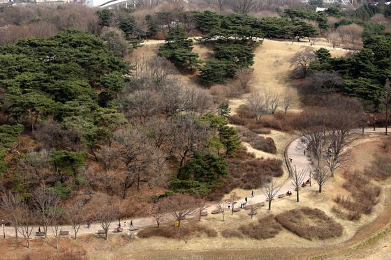 서울 송파구 올림픽공원을 찾은 시민들이 따뜻한 봄기운을 만끽하며 산책하고 있다./사진=뉴스1