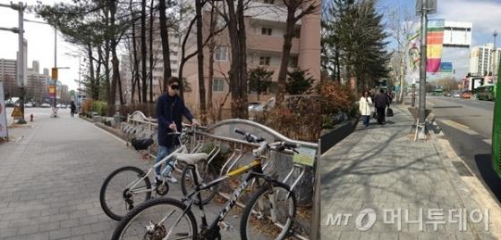 점자유도블록이 없어 보도 화단에 붙어 걷다가 자전거에 걸려 넘어질 뻔했다(왼쪽). 버스정류장까지 가는 보도에 점자유도블록이 설치되지 않아 불편했다. /사진=유승목 기자