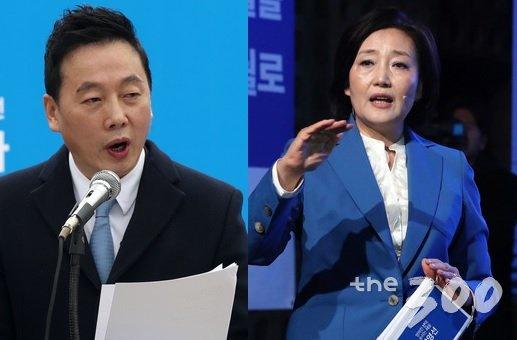 18일 각각 서울시장 출마선언식에 나선 정봉주 전 통합민주당 의원(왼쪽)과 박영선 더불어민주당 의원. /사진=뉴스1