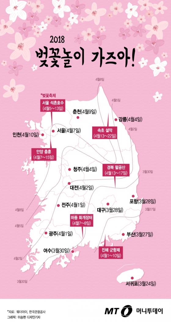 [그래픽뉴스] 벚꽃놀이 가즈아! 언제 어디가면 예쁜 꽃 볼까?
