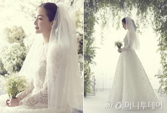 웨딩드레스를 입은 배우 최지우./사진 제공=YG엔터테인먼트