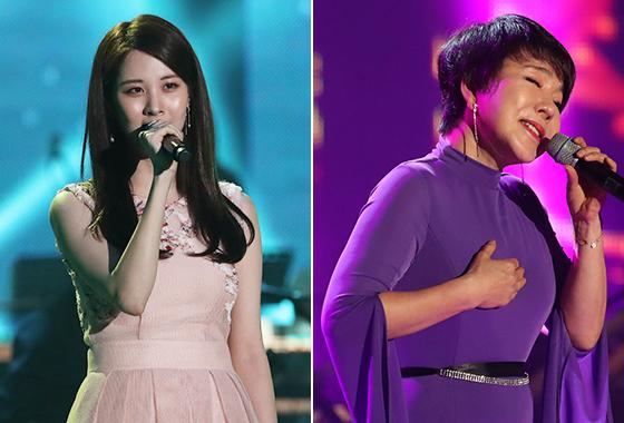 평양 공연에서 노래를 부르고 있는 가수 서현, 최진희/사진=평양공연 사진공동취재단