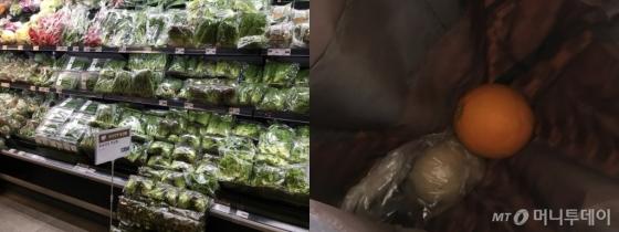 채소가 모두 이미 포장돼있다(왼쪽)비닐을 쓰지 않으려 초라한 쇼핑을 했지만, 점원의 빠른 손동작에 감자는 순식간에 비닐에 쌓여버렸다./사진=한지연 기자