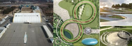 안산시 단원구 화랑유원지 내에 위치한 세월호 희생자를 위한 합동 분향소 모습(왼쪽). 안산시가 밝힌 화랑공원 내 세월호 희생자를 위한 추모공간 예상도. /사진 제공= 안산시