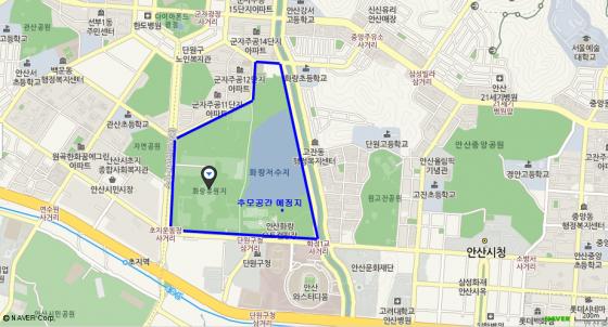안산시가 세월호 참사 희생자를 위한 추모공간 건립을 추진하는 화랑공원의 위치. 시 중심부에 있으며 주변에 주택가가 들어서 있다. /사진= 네이버 지도