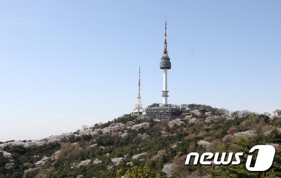 맑은 날씨를 보인 지난 12일 서울 N서울타워와 남산에 활짝 핀 봄꽃들이 선명하다. /사진제공= 뉴스1