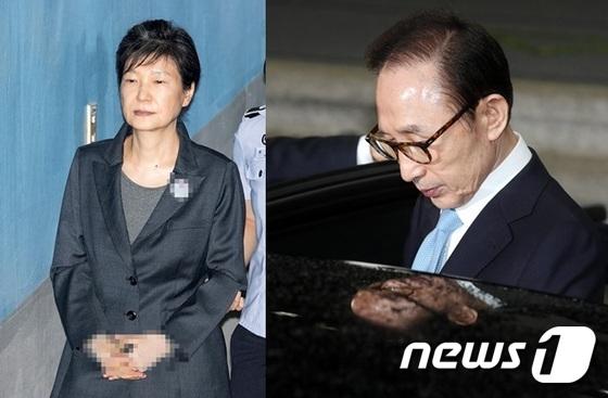 박근혜 전 대통령(왼쪽)과 이명박 전 대통령. © News1